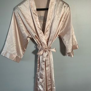 "Soft Pink Satin Feel Robe Personalized ""Jessica"""